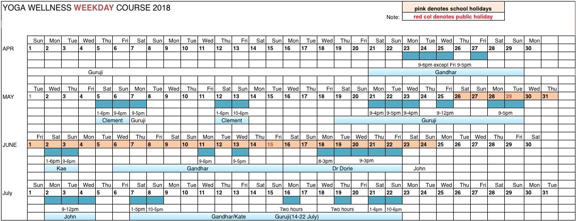 Weekday Schedule